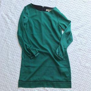 Loft Green Patterned Shift Dress Long Sleeve 0